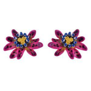 Les Nereides Purple And Blue Flower Stud Earring